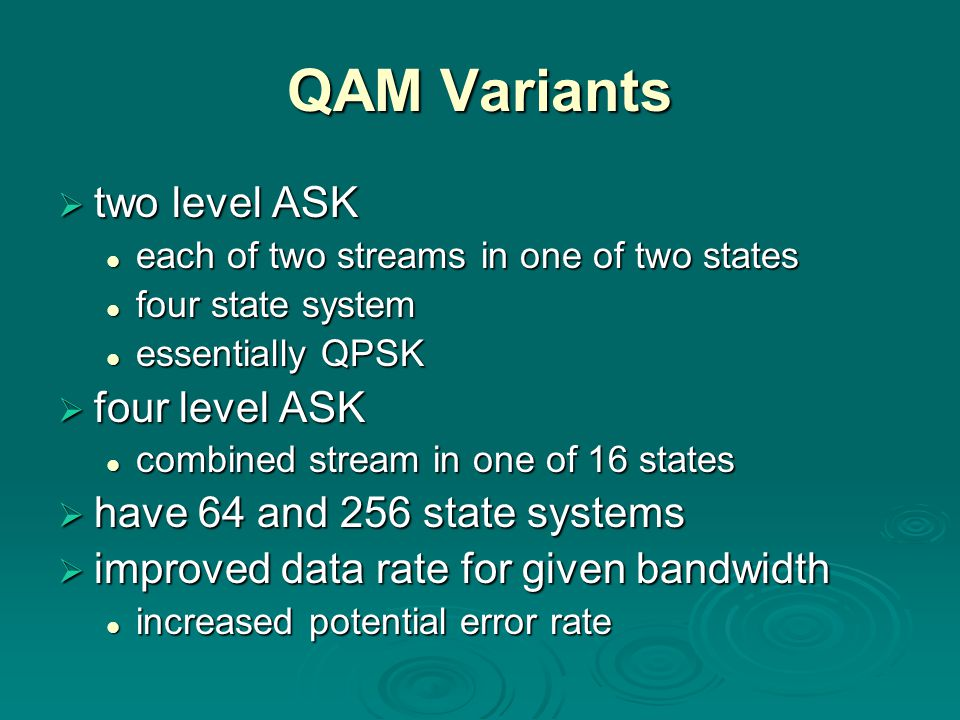QAM Variants two level ASK four level ASK
