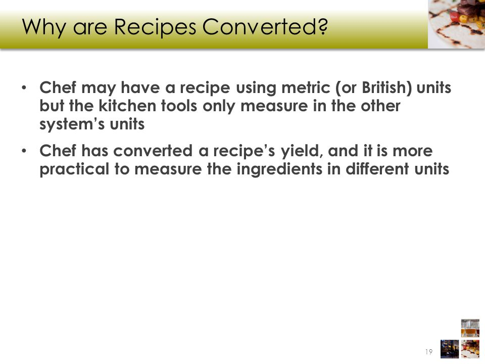 Why are Recipes Converted