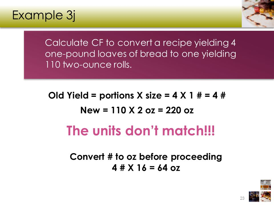 The units don't match!!! Example 3j
