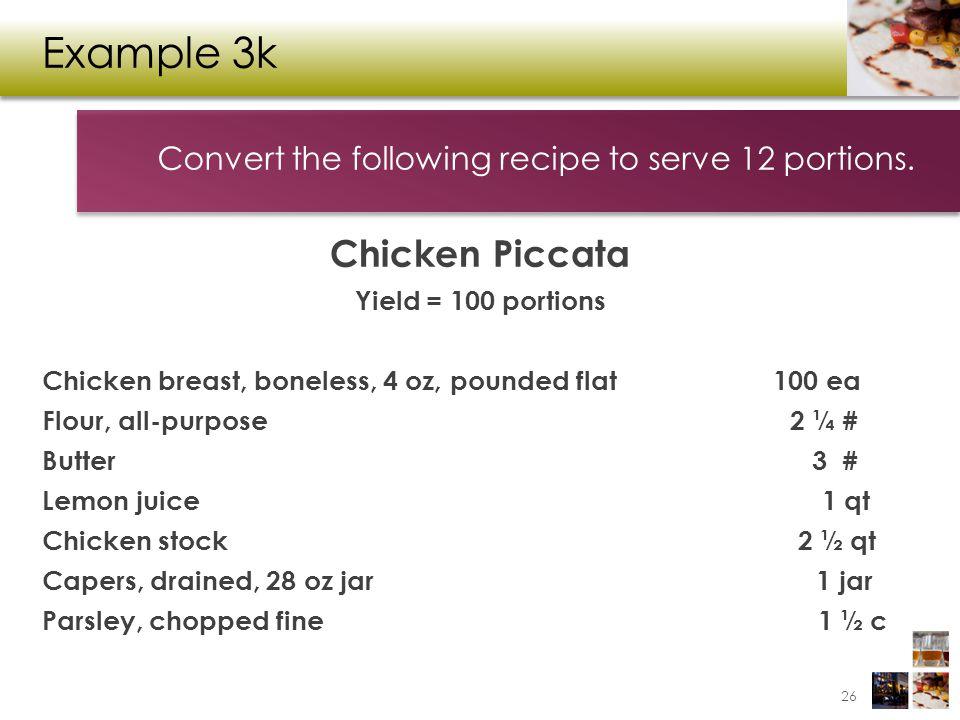 Example 3k Chicken Piccata