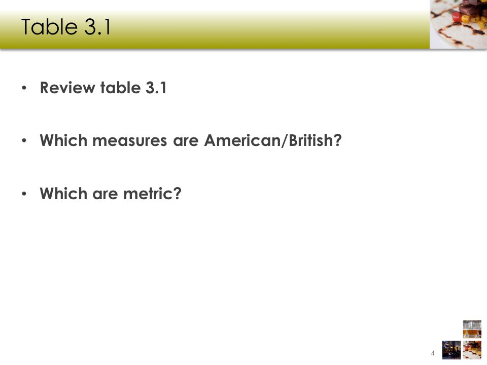 Table 3.1 Review table 3.1 Which measures are American/British