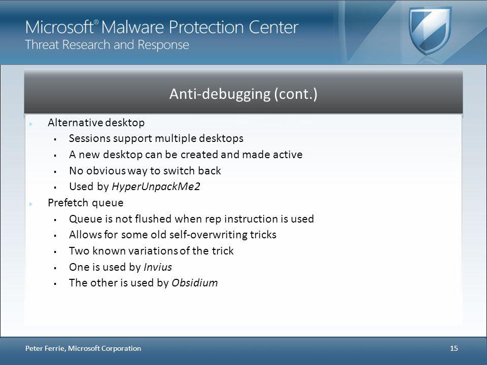 Anti-debugging (cont.)