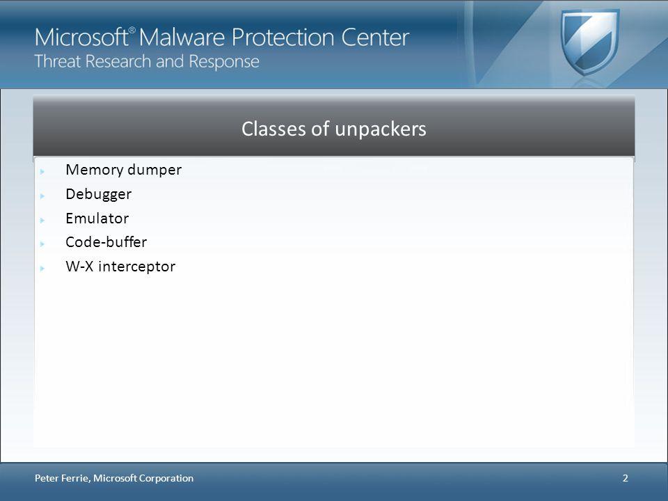 Classes of unpackers Memory dumper Debugger Emulator Code-buffer