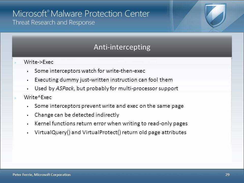 Anti-intercepting Write->Exec