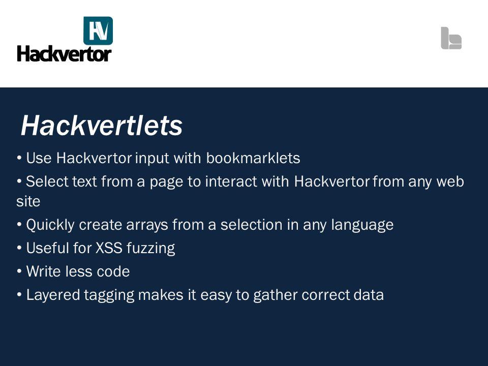 Hackvertlets Use Hackvertor input with bookmarklets