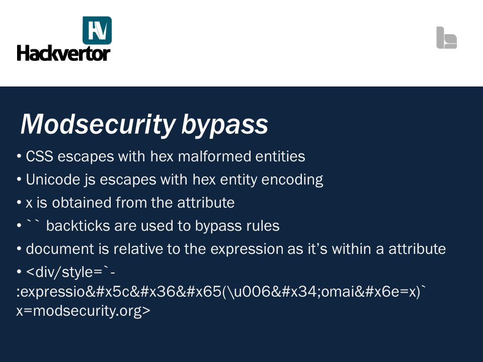 Modsecurity bypass CSS escapes with hex malformed entities