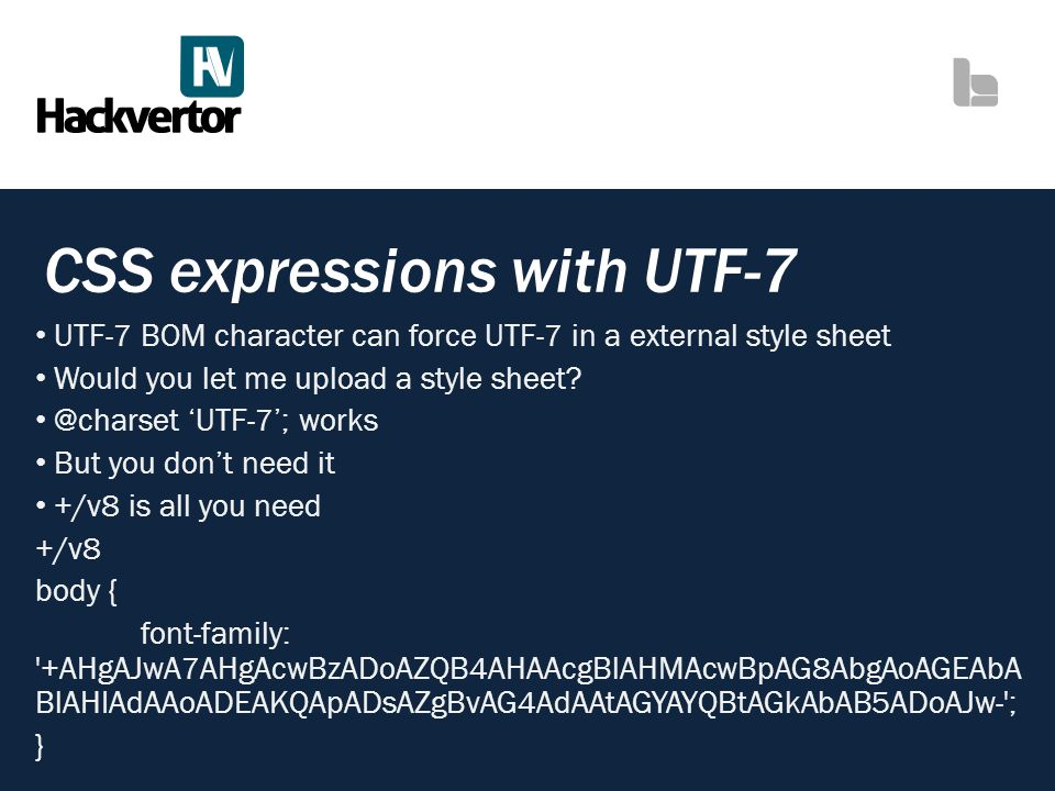 CSS expressions with UTF-7