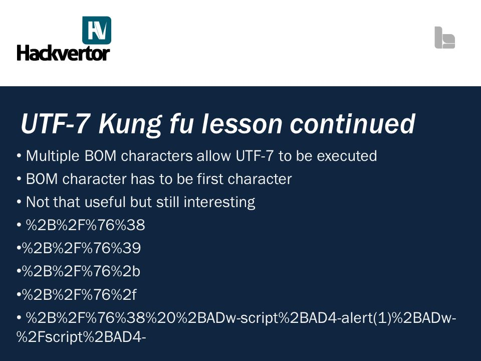 UTF-7 Kung fu lesson continued