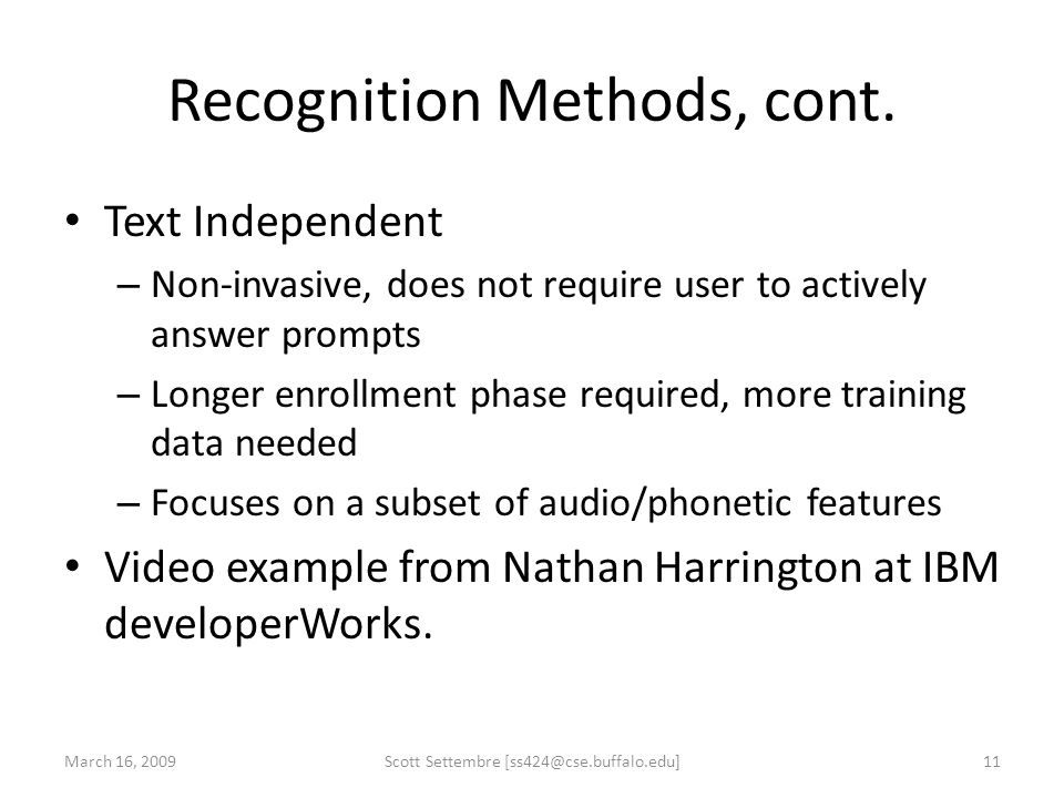 Recognition Methods, cont.