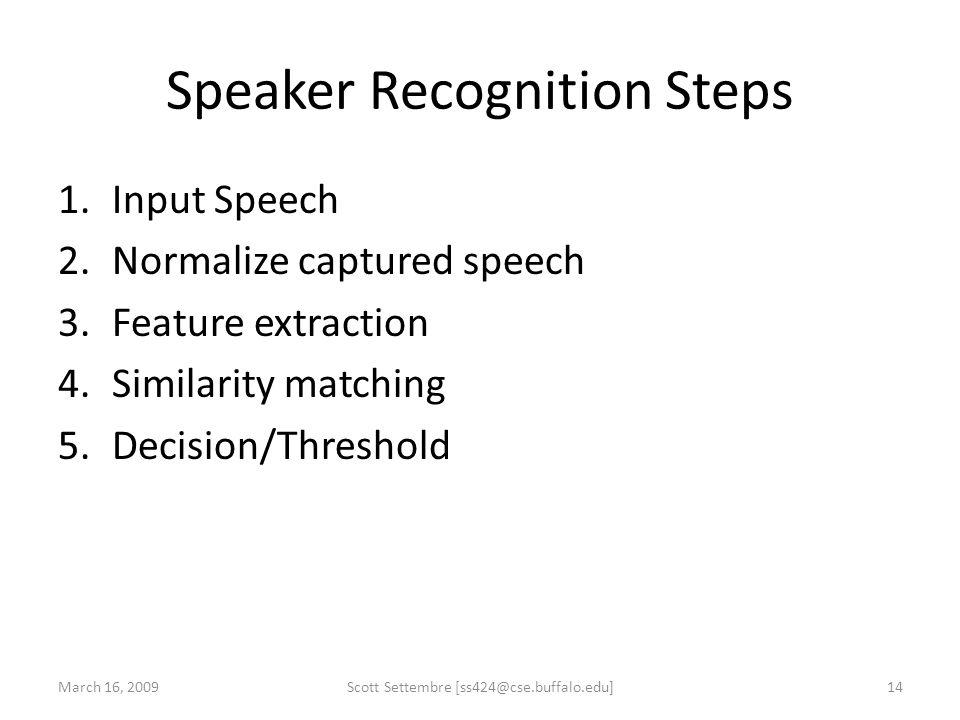 Speaker Recognition Steps