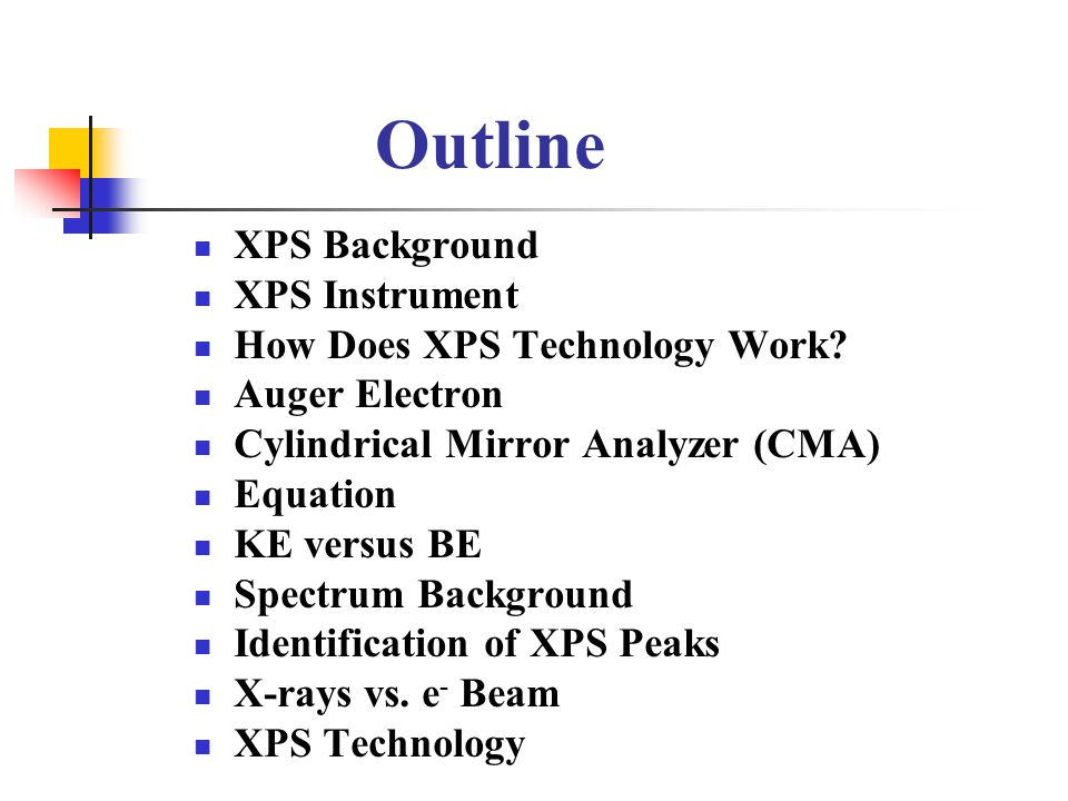 Outline XPS Background XPS Instrument How Does XPS Technology Work