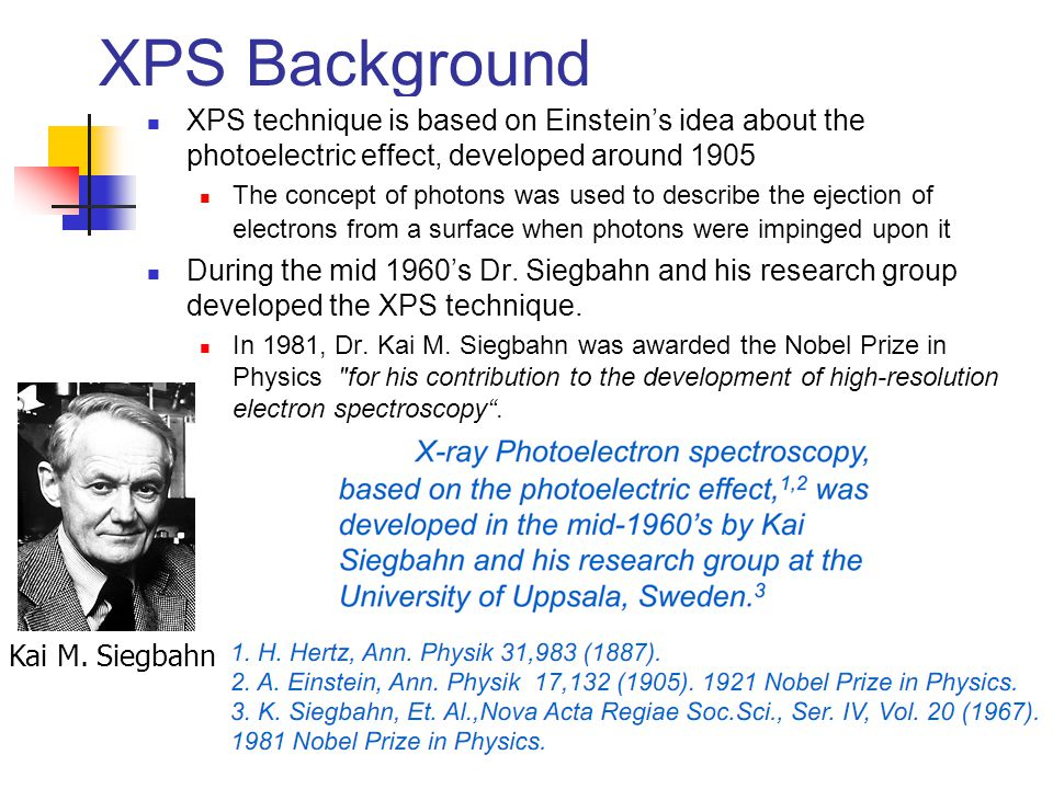 XPS Background XPS technique is based on Einstein's idea about the photoelectric effect, developed around 1905.