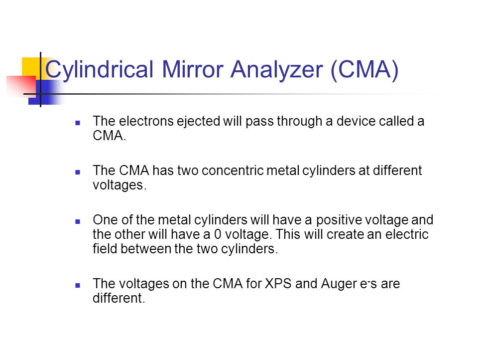 Cylindrical Mirror Analyzer (CMA)