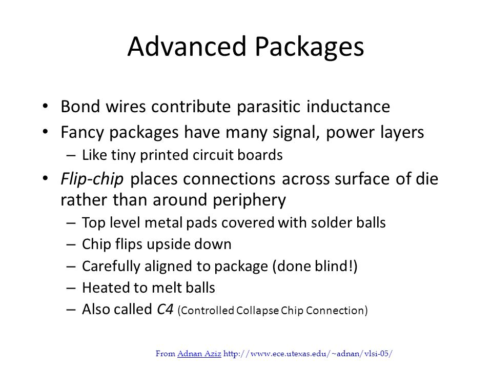 Advanced Packages Bond wires contribute parasitic inductance