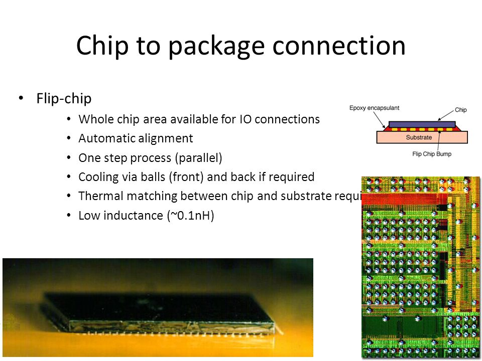 Chip to package connection