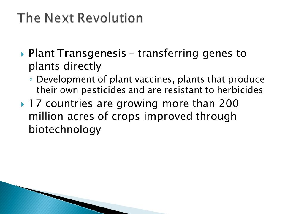 The Next Revolution Plant Transgenesis – transferring genes to plants directly.