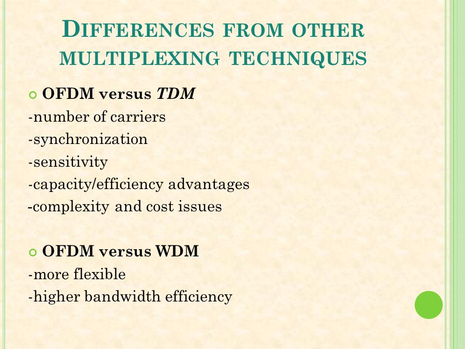 Differences from other multiplexing techniques