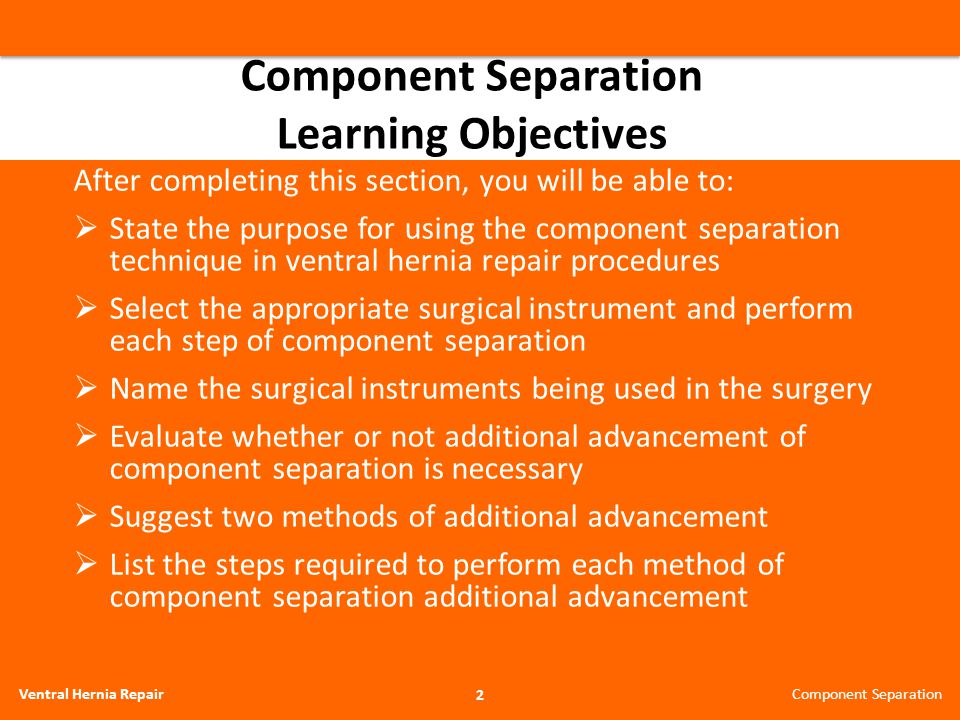Component Separation Learning Objectives