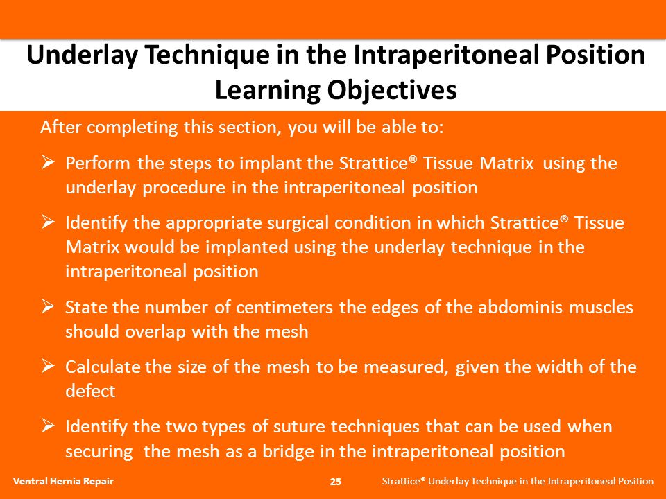 Underlay Technique in the Intraperitoneal Position Learning Objectives