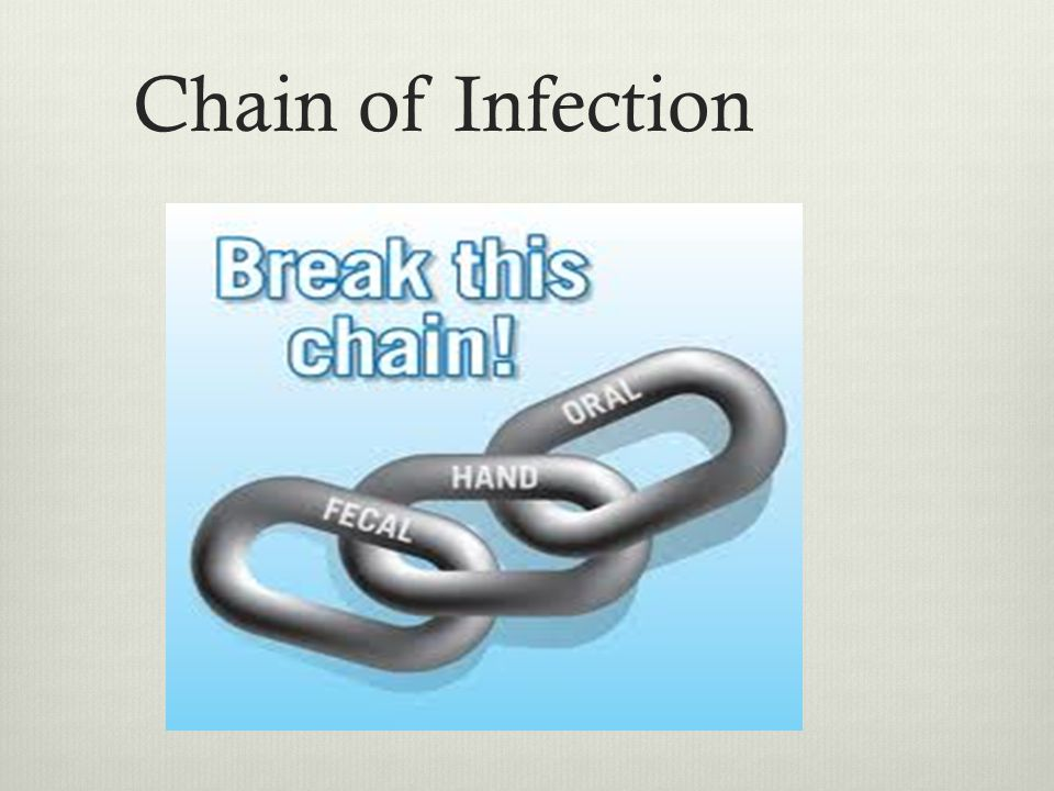 Chain of Infection The interaction in the 6 elements in the chain of infection will determine whether an infection results.