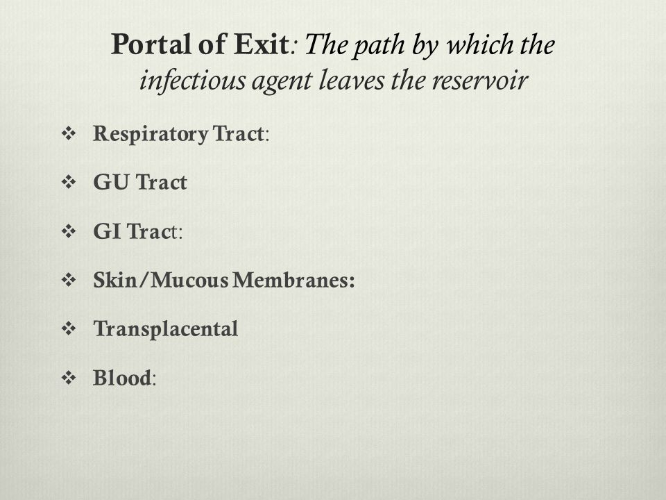 Portal of Exit: The path by which the infectious agent leaves the reservoir
