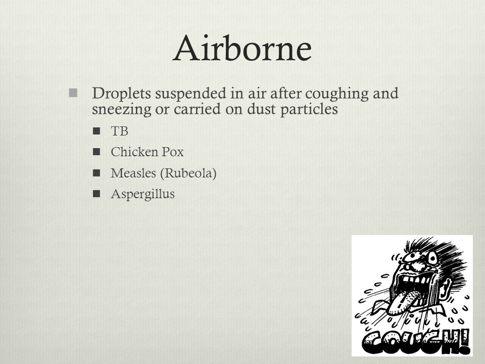 Airborne Droplets suspended in air after coughing and sneezing or carried on dust particles. TB. Chicken Pox.