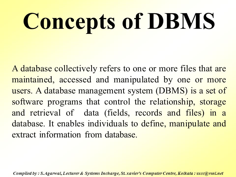 Concepts of DBMS