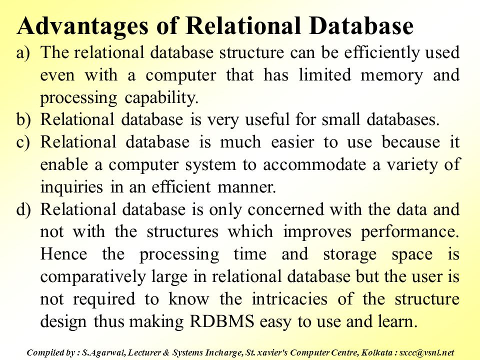 Advantages of Relational Database