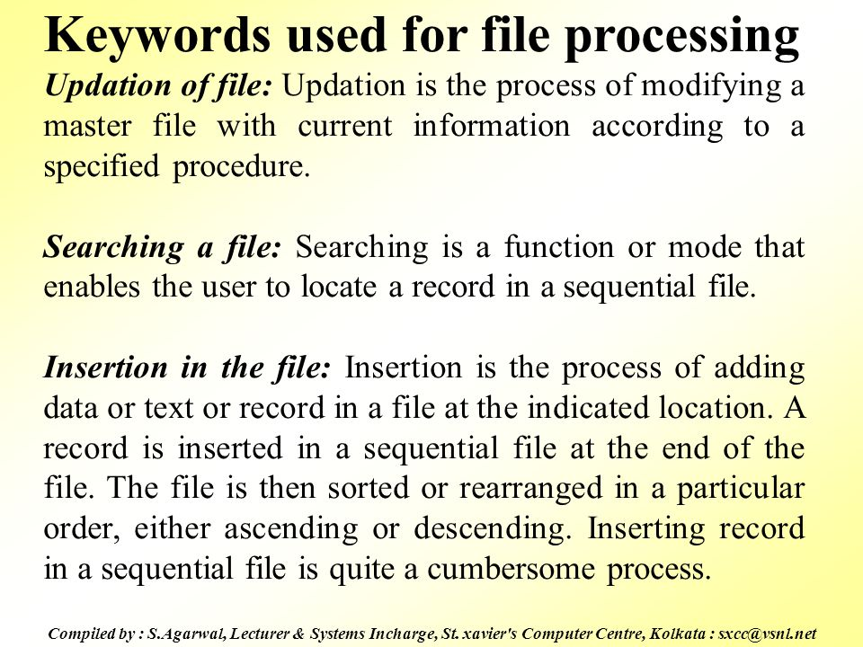 Keywords used for file processing