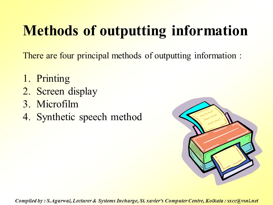 Methods of outputting information