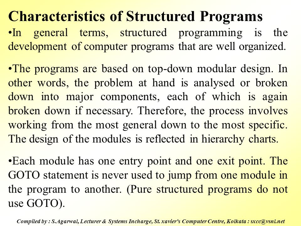 Characteristics of Structured Programs