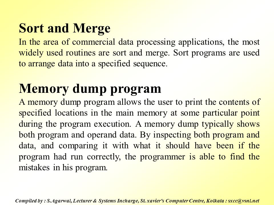 Sort and Merge Memory dump program