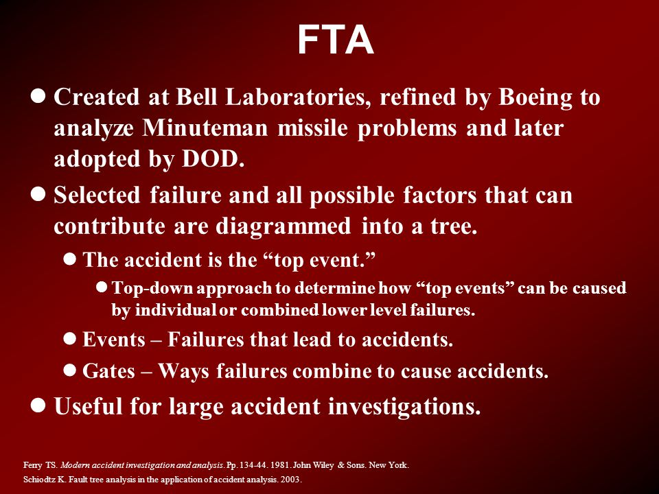 FTA Created at Bell Laboratories, refined by Boeing to analyze Minuteman missile problems and later adopted by DOD.