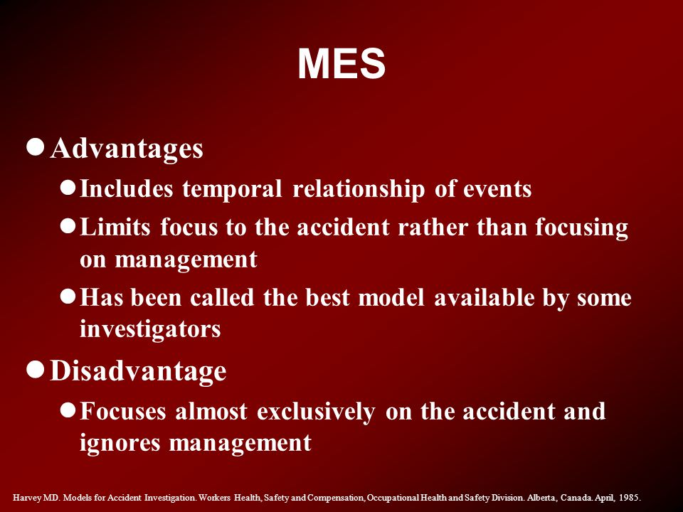 MES Advantages Disadvantage Includes temporal relationship of events