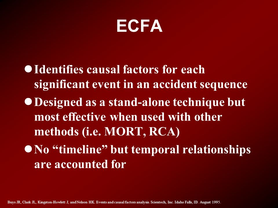 ECFA Identifies causal factors for each significant event in an accident sequence.