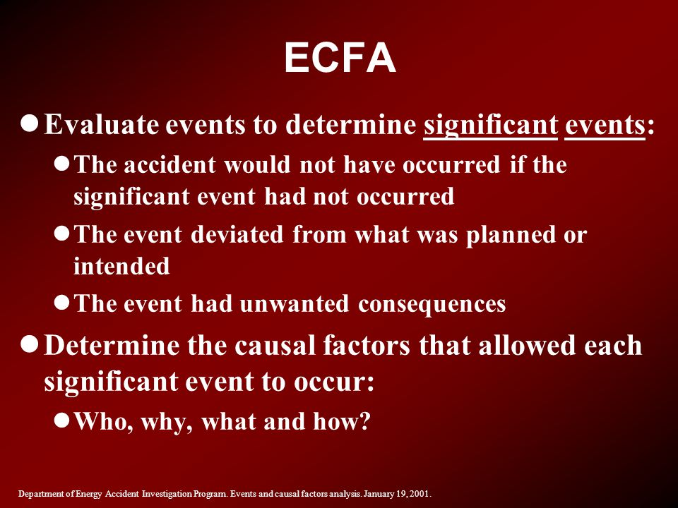 ECFA Evaluate events to determine significant events: