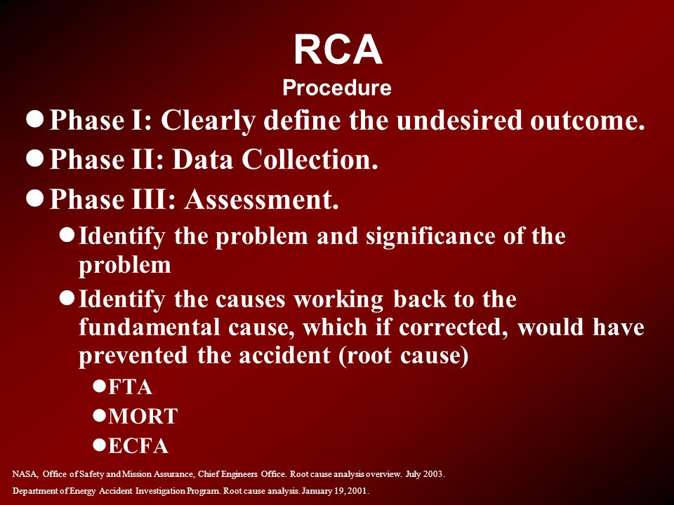 RCA Procedure Phase I: Clearly define the undesired outcome.