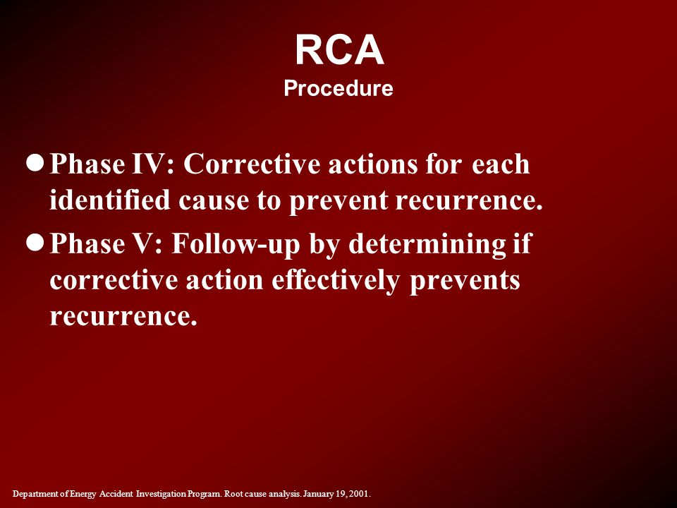 RCA Procedure Phase IV: Corrective actions for each identified cause to prevent recurrence.