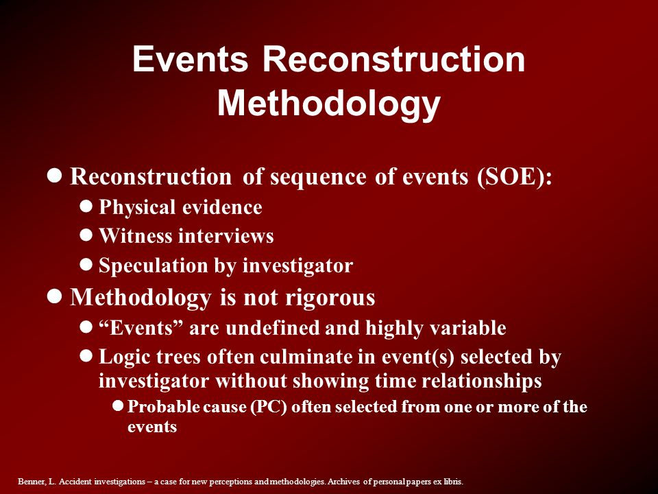 Events Reconstruction Methodology
