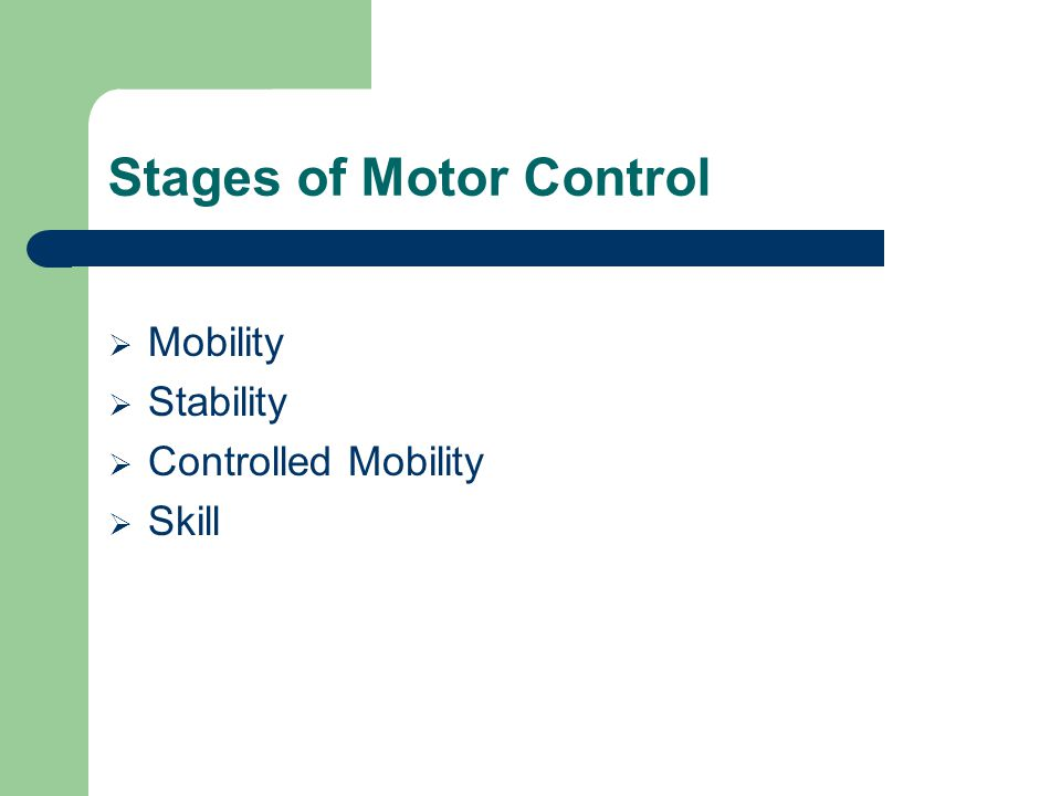 Stages of Motor Control