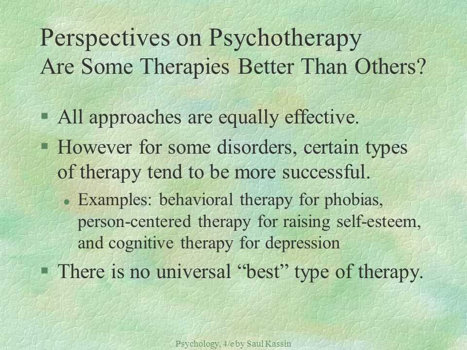 Perspectives on Psychotherapy Are Some Therapies Better Than Others
