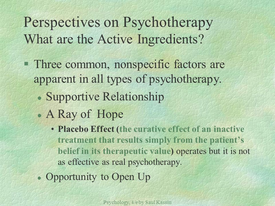 Perspectives on Psychotherapy What are the Active Ingredients
