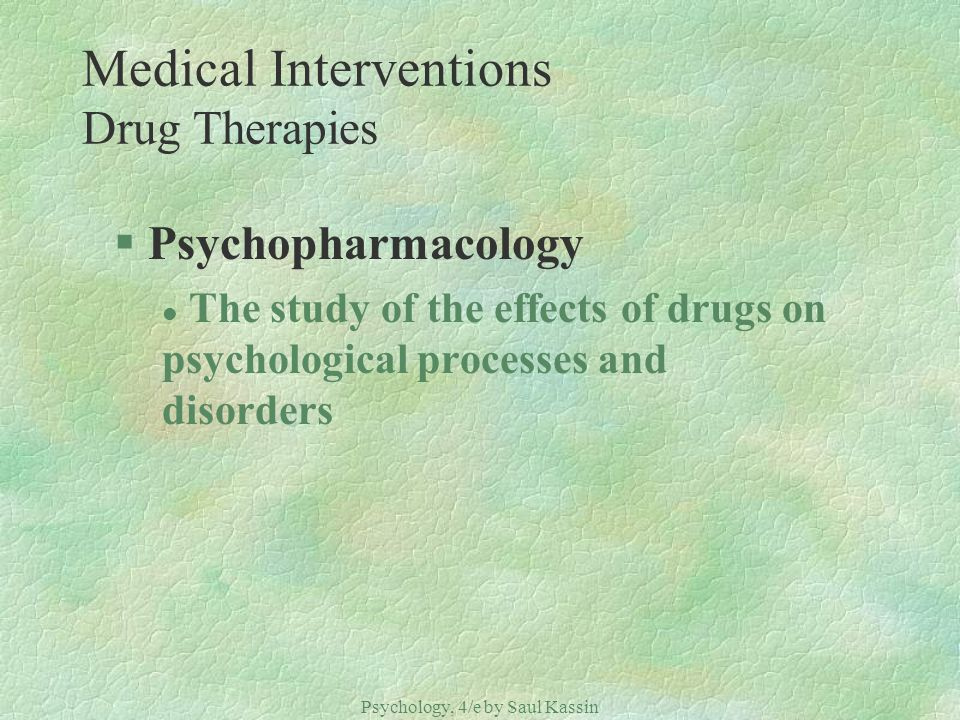 Medical Interventions Drug Therapies