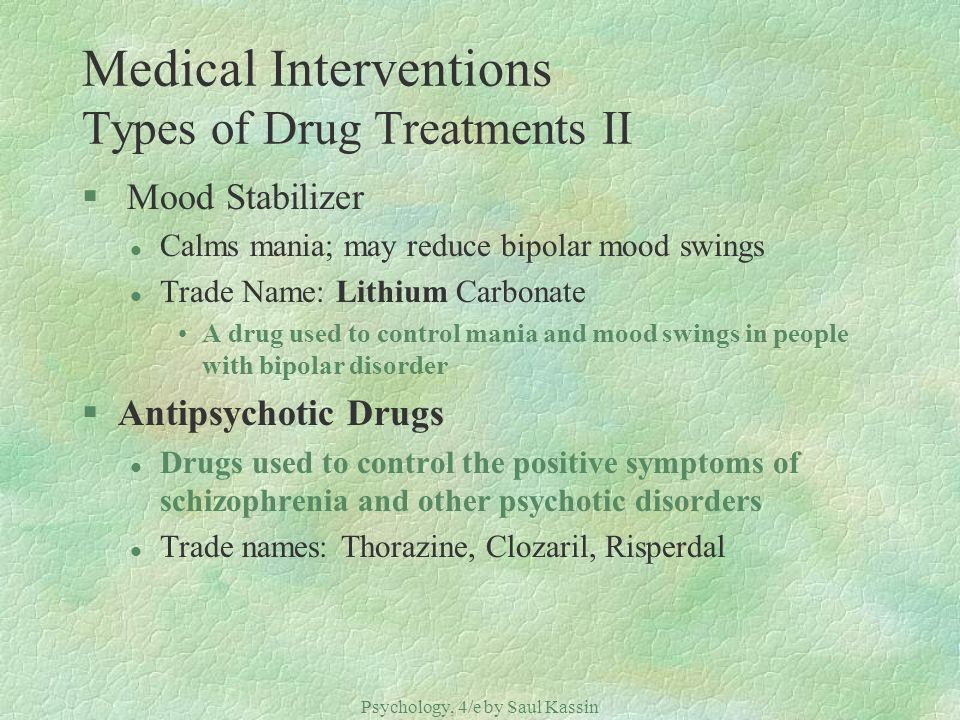 Medical Interventions Types of Drug Treatments II
