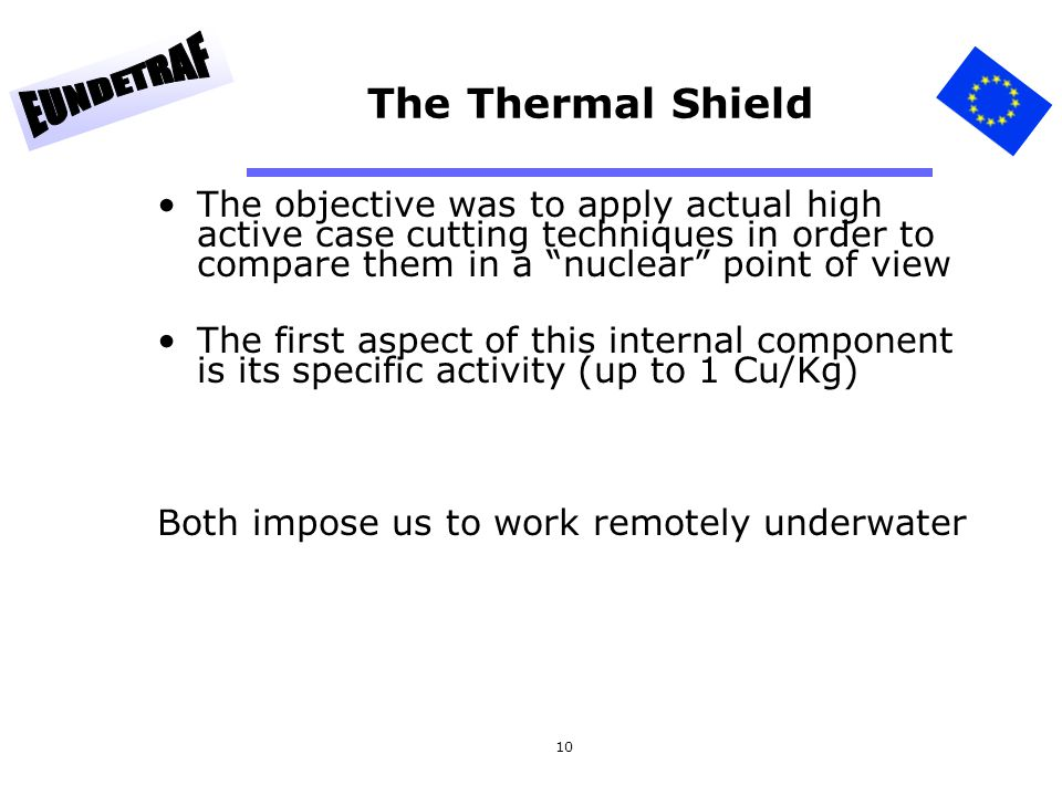 The Thermal Shield The objective was to apply actual high active case cutting techniques in order to compare them in a nuclear point of view.