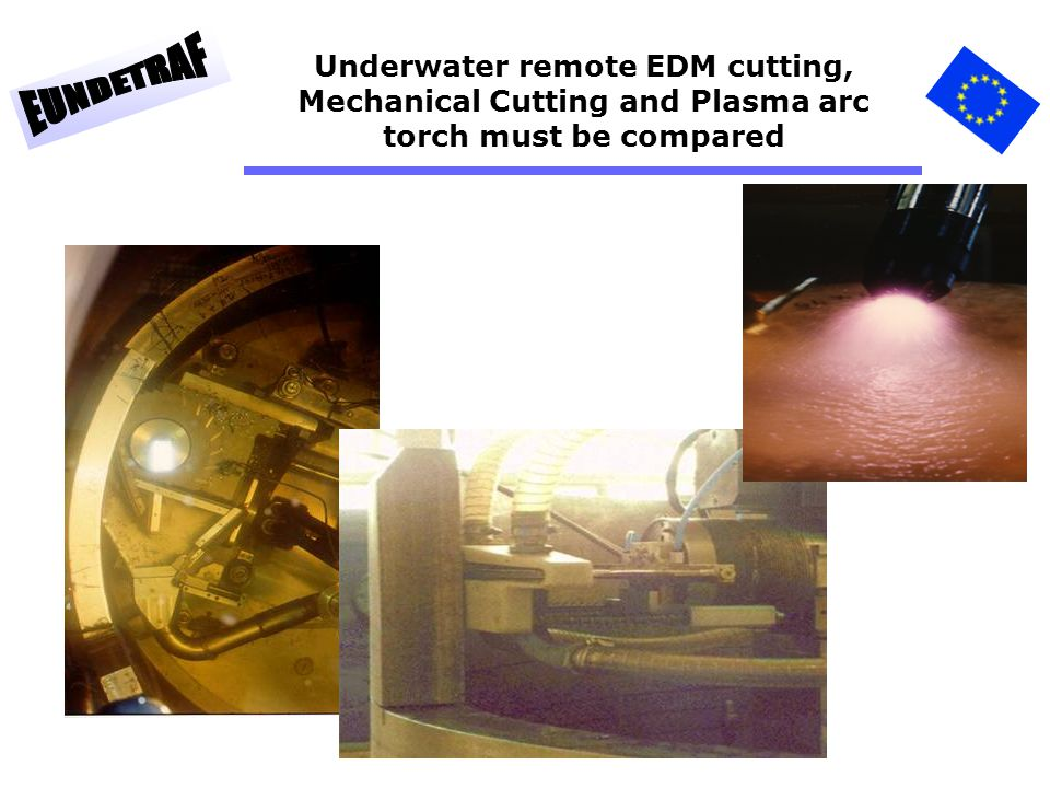 Underwater remote EDM cutting, Mechanical Cutting and Plasma arc torch must be compared