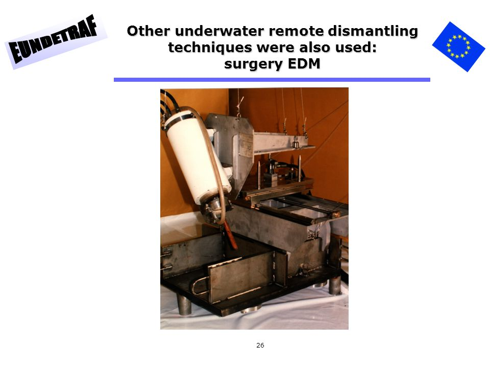 Other underwater remote dismantling techniques were also used: surgery EDM