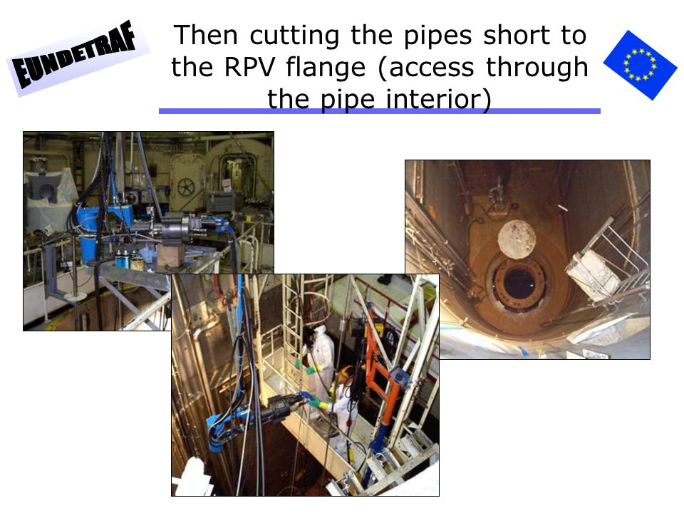 Then cutting the pipes short to the RPV flange (access through the pipe interior)