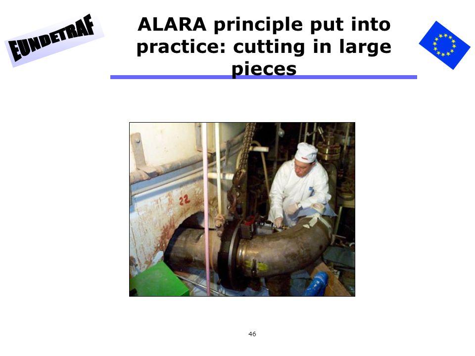 ALARA principle put into practice: cutting in large pieces