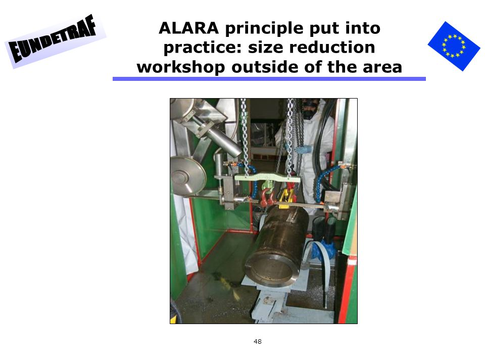 ALARA principle put into practice: size reduction workshop outside of the area